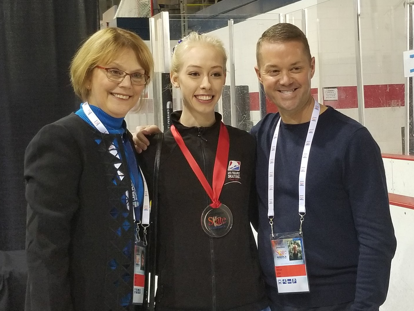 Bradie Tennell, 2017 Skate America Bronze Medalist, with her coach Denise Myers and choreographer Scott Brown.