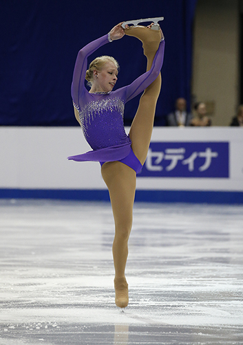 Bradie Tennell performs a catch-foot spin in competition.